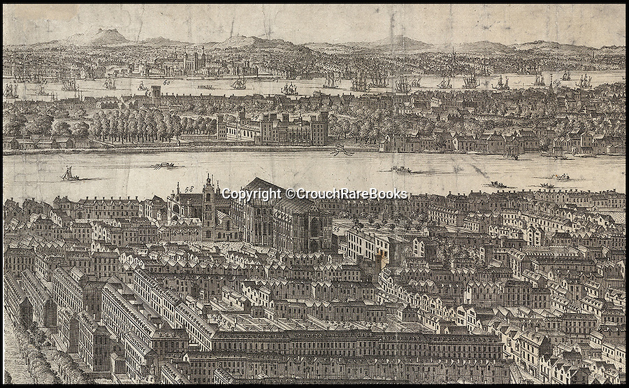 BNPS.co.uk (01202 558833)<br /> Pic: CrouchRareBooks/BNPS<br /> <br /> Westminster Hall and Abbey with the Tower of London in the background.<br /> <br /> The largest map of Hanovarian London, that almost didn't see the light of day due to a Royal dispute, is being sold for £60,000.<br /> <br /> A rare and fascinating panorama was drawn 300 years ago, and reveals in incredible detail the layout of the city in the early days of Georgian Britain.<br /> <br /> The piece of art, measuring 40ins by 80ins, was produced in 1717 by Dutch artisan Jan Kip for Caroline of Ansbach, the Princess of Wales. <br /> <br /> But George I banned its publication for 9 years after falling out with his son and daughter in law in a bitter family dispute.<br /> <br /> He finally relented in 1726 allowing the glorious vista showing a far-reaching view from Buckingham House (Buckingham Palace) over St James's Park and Westminster towards the City of London, to be produced.