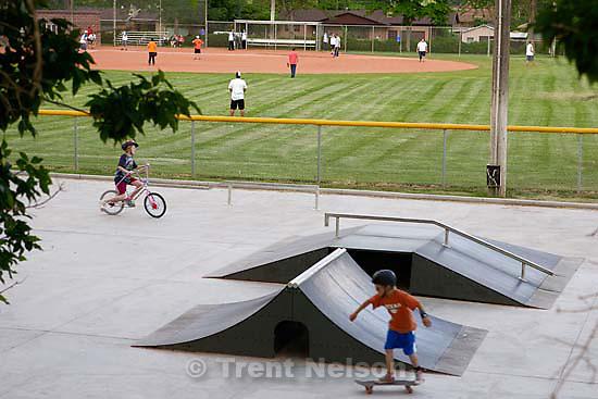skateboard park and baseball diamond.<br />