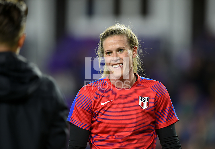Orlando City, FL - Wednesday March 07, 2018: Alyssa Naeher during a 2018 SheBelieves Cup match between the women's national teams of the United States (USA) and England (ENG) at Orlando City Stadium.