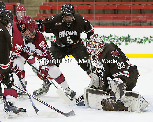 Brian Hart (Harvard - 39), Devin Tringale (Harvard - 22), Tyler Wood (Brown - 5), Tim Ernst (Brown - 33) - The Harvard University Crimson defeated the Brown University Bears 4-3 to sweep their first round match up in the ECAC playoffs on Saturday, March 7, 2015, at Bright-Landry Hockey Center in Cambridge, Massachusetts.
