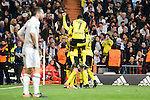 Real Madrid's Daniel Carvajal and Borussia Dortmund Ousmane Dembele and Lukasz Pisczek during the UEFA Champions League match between Real Madrid and Borussia Dortmund at Santiago Bernabeu Stadium in Madrid, Spain. December 07, 2016. (ALTERPHOTOS/BorjaB.Hojas)