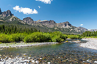 The peaks of the Absaroka Range cut a fine profile above the Wiggins Fork of the Wind River near Dubois Wyoming.