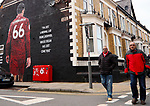 A general view of fans walking past a mural of Trent Alexander-Arnold towards the ground during the Premier League match at Anfield, Liverpool. Picture date: 1st February 2020. Picture credit should read: James Wilson/Sportimage