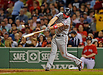 8 June 2012: Washington Nationals outfielder Bryce Harper connects for an RBI single in the 6th inning against the Boston Red Sox at Fenway Park in Boston, MA. The Nationals defeated the Red Sox 7-4 in the opening game of their 3-game series. Mandatory Credit: Ed Wolfstein Photo