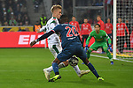 04.11.2018, Borussia Park , Moenchengladbach, GER, 1. FBL,  Borussia Moenchengladbach vs. Fortuna Duesseldorf,<br />  <br /> DFL regulations prohibit any use of photographs as image sequences and/or quasi-video<br /> <br /> im Bild / picture shows: <br /> Dodi Lukebakio (Fortuna Duesseldorf #20),  im Zweikampf gegen  Oscar Wendt (Gladbach #17), <br /> <br /> Foto &copy; nordphoto / Meuter