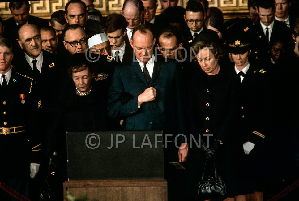 Washington National Cathedral - March 31, 1969. Former First Lady Mamie Geneva Eisenhower, with son John Eisenhower and wife Barbara Thompson at the funeral procession of former President Dwight Eisenhower. He (October 14, 1890 - March 28, 1969) was the 34th President of the United States from 1953 until 1961, was a five-star general in the United States Army during World War II and was the first supreme commander of NATO.