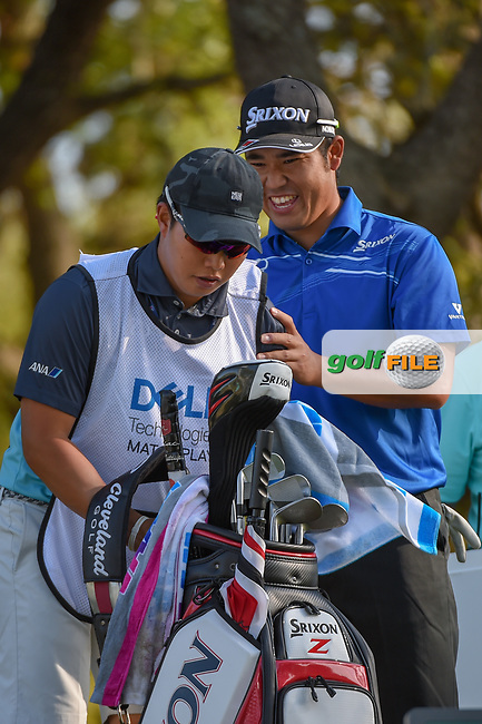 Hideki Matsuyama (JPN) bursts into laughter at his caddie's reaction after he faked pushing him over the ledge on the elevated tee on 12 during day 1 of the WGC Dell Match Play, at the Austin Country Club, Austin, Texas, USA. 3/27/2019.<br /> Picture: Golffile | Ken Murray<br /> <br /> <br /> All photo usage must carry mandatory copyright credit (© Golffile | Ken Murray)