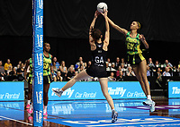24.02.2018 Silver Ferns Bailey Mes and Jamaica's Shamera Sterlingin action during the Silver Ferns v Jamaica Taini Jamison Trophy netball match at the North Shore Events Centre in Auckland. Mandatory Photo Credit ©Michael Bradley.