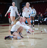 STANFORD, CA - December 1, 2018: Meghan McClure, Kathryn Plummer, Kate Formico at Maples Pavilion. The Stanford Cardinal defeated Loyola Marymount 25-20, 25-15, 25-17 in the second round of the NCAA tournament.