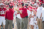 Wisconsin Badgers Head Coach Paul Chryst looks on during an NCAA College Football game against the Florida Atlantic Owls Saturday, September 9, 2017, in Madison, Wis. The Badgers won 31-14. (Photo by David Stluka)