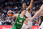 Real Madrid's Anthony Randolph and Darussafaka Dogus's Dairis Bertans during Turkish Airlines Euroleague match between Real Madrid and Darussafaka Dogus at Wizink Center in Madrid, Spain. February 24, 2017. (ALTERPHOTOS/BorjaB.Hojas)