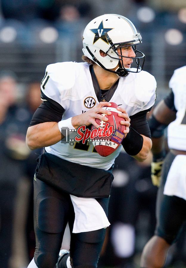 Vanderbilt Commodores quarterback Jordan Rodgers (11) rolls out to his right looking to pass the ball during first quarter action against the Wake Forest Demon Deacons at BB&T Field on November 24, 2012 in Winston-Salem, North Carolina.  The Commodores defeated the Demon Deacons 55-21.  (Brian Westerholt/Sports On Film)