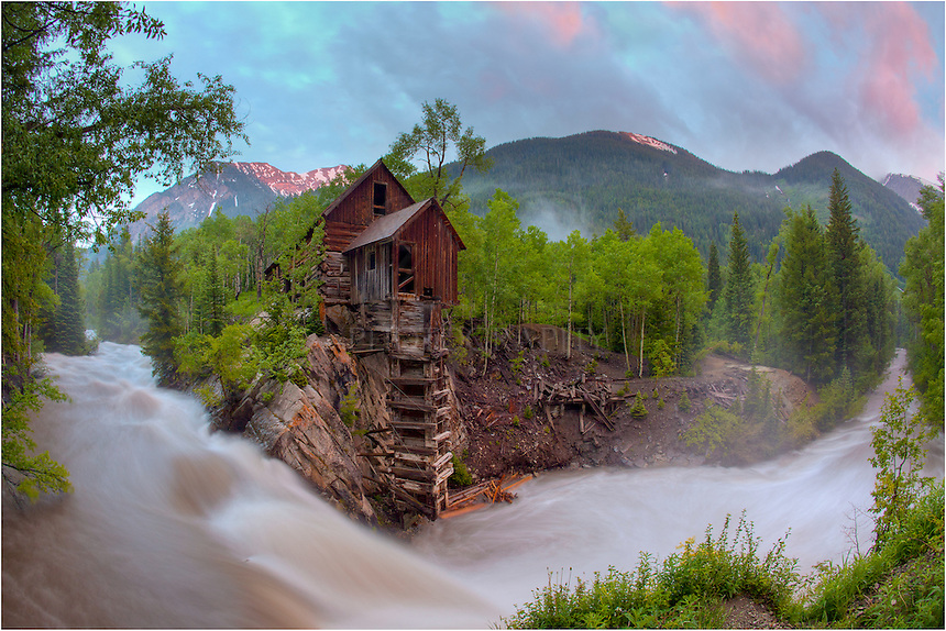 The Crystal Mill, located in Crystal, Coloado, was built in 1892 along the Crystal River. Often called the Dead Horse Mill, the Old Mill is found along a rather bumpy 4WD road, but its setting in the Colorado Rockies makes a perfect setting for a Colorado Image.