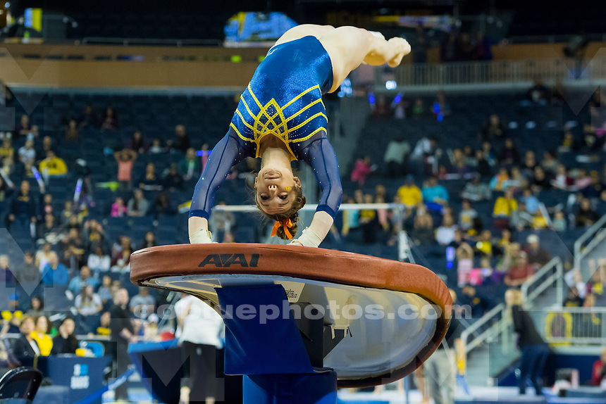 The University of Michigan women's gymnastics team,196.950 - 196.800, senior night victory over Utah at Crisler Arena in Ann Arbor, MI on March 10, 2018.