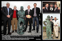 23-06-12: GAA legend Mick O'Dwyer with his sons John, Micheal and Karl O'Dwyer and the  bronze life-sized statue of Mick O'Dwyer  that was unveiled in Waterville, County Kerry, on Saturday. Picture: Eamonn Keogh (MacMonagle, Killarney)