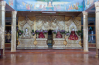 Myanmar, Burma.   Buddhist Shrine in Meeting Hall, Thein Taung Paya monastery, Kalaw, Shan State.