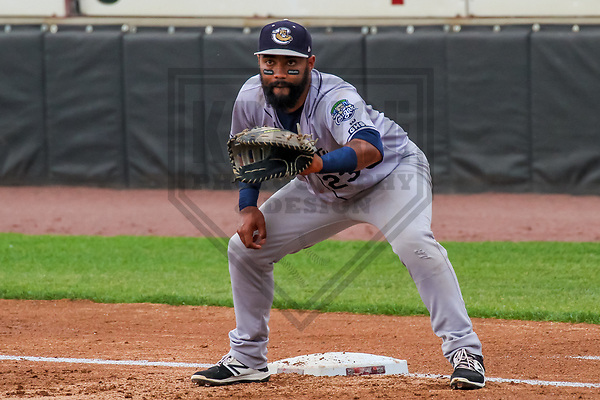 Kane County Cougars first baseman Alexis Olmeda (23) during a Midwest League game against the Wisconsin Timber Rattlers on June 11, 2017 at Fox Cities Stadium in Appleton, Wisconsin.  Kane County defeated Wisconsin 6-4. (Brad Krause/Krause Sports Photography)