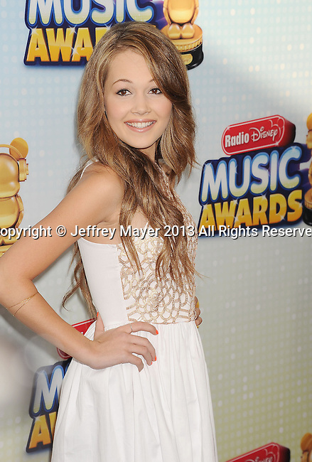 LOS ANGELES, CA- APRIL 27: Actress Kelli Berglund arrives at the 2013 Radio Disney Music Awards at Nokia Theatre L.A. Live on April 27, 2013 in Los Angeles, California.