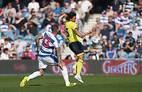 Blackburn Rovers' Bradley Dack and Queens Park Rangers' Joel Lynch<br /> <br /> Photographer Rob Newell/CameraSport<br /> <br /> The EFL Sky Bet Championship - Queens Park Rangers v Blackburn Rovers - Friday 19th April 2019 - Loftus Road - London<br /> <br /> World Copyright © 2019 CameraSport. All rights reserved. 43 Linden Ave. Countesthorpe. Leicester. England. LE8 5PG - Tel: +44 (0) 116 277 4147 - admin@camerasport.com - www.camerasport.com
