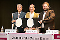 """April 24, 2013, Tokyo, Japan - (L to R) The organizer of KYOMAF Takayuki Mastutani, the Mayor of Kyoto Daisaku Kadokawa and the represent of Japan EXPO (in France) Thomas Sirdey show the documents of collaboration in the press conference of """"Kyoto international Manga Anime Fair 2013"""" at Kabukiza Tower in Tokyo. In the press conference the organizers of KYOMAF, Mayor of Kyoto and Japan EXPO (in France) signed a document to collaborate together to promote the anime and manga culture in Europe and United States. The KYOMAF is the largest manga/anime fair in West Japan and will be free entrance for elementary school students and foreigners with passport. It will be held from September 6 to 8 at Miyako Messe, Kyoto. (Photo by Rodrigo Reyes Marin/AFLO).."""