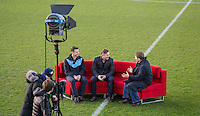 During BBC Breakfast as they air their live broadcast on Tuesday morning, presented by Bill Turnbull for his penultimate appearance on the programme at Adams Park, High Wycombe, England on 23 February 2016. Photo by Andy Rowland.