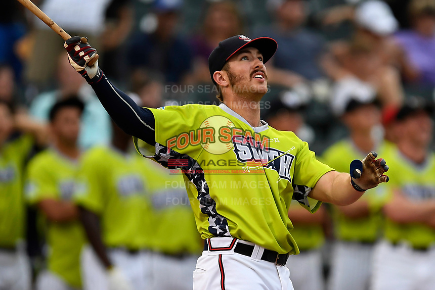 Brett Cumberland of the Rome Braves participates in the first round of the Home Run Derby as part of of the South Atlantic League All-Star Game festivities on Monday, June 19, 2017, at Spirit Communications Park in Columbia, South Carolina. (Tom Priddy/Four Seam Images)