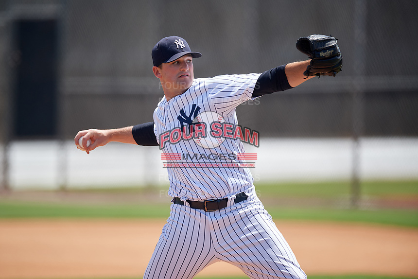 GCL Yankees West pitcher Jackson Bertsch (40) warms up on a side field during a game against the GCL Yankees East on August 8, 2018 at Yankee Complex in Tampa, Florida.  GCL Yankees West defeated GCL Yankees East 8-4.  (Mike Janes/Four Seam Images)