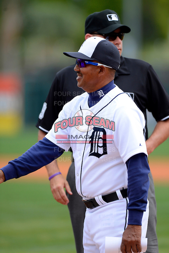 Detroit Tigers coach Rafael Belliard #17 before a Spring Training game against the New York Mets at Joker Marchant Stadium on March 11, 2013 in Lakeland, Florida.  New York defeated Detroit 11-0.  (Mike Janes/Four Seam Images)