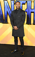 "Michael B Jordan<br /> arriving for the ""Black Panther"" premiere at the Hammersmith Apollo, London<br /> <br /> <br /> ©Ash Knotek  D3376  08/02/2018"