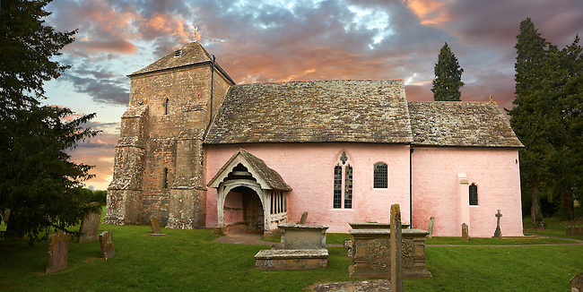 Exterior of the Norman Church of St Mary's Kempley Gloucestershire, England, Europe