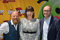 "LOS ANGELES, USA. August 10, 2019: Thurop Van Orman, Rachel Bloom & John Cohen at the premiere of ""The Angry Birds Movie 2"" at the Regency Village Theatre.<br /> Picture: Paul Smith/Featureflash"