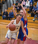 WINSTED,  CT-021919JS19-  Housatonic's Sydney Segalla  (13) drives to the basket while being defended by Nonnewaug's Maddie Woodward (34) during their Berkshire League semi-final game Tuesday at Northwestern Regional High School in Winsted. <br /> Jim Shannon Republican American