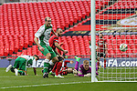 LONDON, ENGLAND - MARCH 29: Ryan Kenda of North Ferriby United (left) scores his team's third goal against Wrexham to make it 3-2 during the FA Carlsberg Trophy Final 2015 at Wembley Stadium on March 29, 2015 in London, England. (Photo by David Horn/EAP)