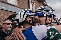 Tom Boonen (BEL/Quick-Step Floors) is hugged by teammate/race winner Marcel Kittel (GER/Quick Step Floors) after finishing Boonen's last ever (farewell) race on Belgian soil<br /> <br /> 105th Scheldeprijs 2017 (1.HC)<br /> 1 Day Race: Mol &rsaquo; Schoten (BEL/202km)