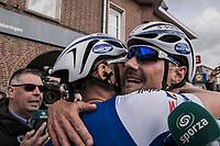 Tom Boonen (BEL/Quick-Step Floors) is hugged by teammate/race winner Marcel Kittel (GER/Quick Step Floors) after finishing Boonen's last ever (farewell) race on Belgian soil<br /> <br /> 105th Scheldeprijs 2017 (1.HC)<br /> 1 Day Race: Mol › Schoten (BEL/202km)