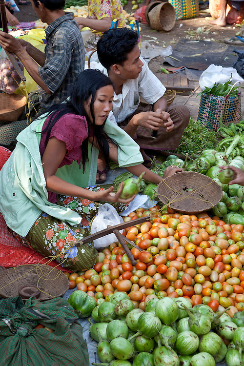 Colorful vegetable market in Bagan area,Burma