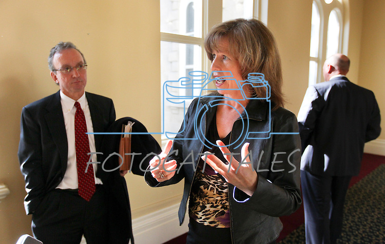 Nevada Department of Transportation Director Susan Martinovich answers media questions outside the Board of Examiners meeting Tuesday, Nov. 8, 2011, at the Capitol in Carson City, Nev..Photo by Cathleen Allison