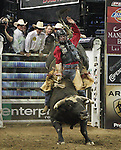 Ross Coleman from Molalla, OR rides Sir Patrick during the Built FordTough Series Copenhagen Bull Riding Invitational in Reno, Nevada on Saturday night Sept. 12th.  Photo by Tom Smedes.