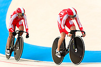 Picture by Alex Whitehead/SWpix.com - 10/12/2017 - Cycling - UCI Track Cycling World Cup Santiago - Velódromo de Peñalolén, Santiago, Chile - Holy Brother's Shanju Bao and Yufang Guo compete in the Women's Team Sprint qualifying.