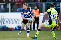 Chris Cook of Bath Rugby looks to pass the ball. Aviva Premiership match, between Bath Rugby and Sale Sharks on February 24, 2018 at the Recreation Ground in Bath, England. Photo by: Patrick Khachfe / Onside Images