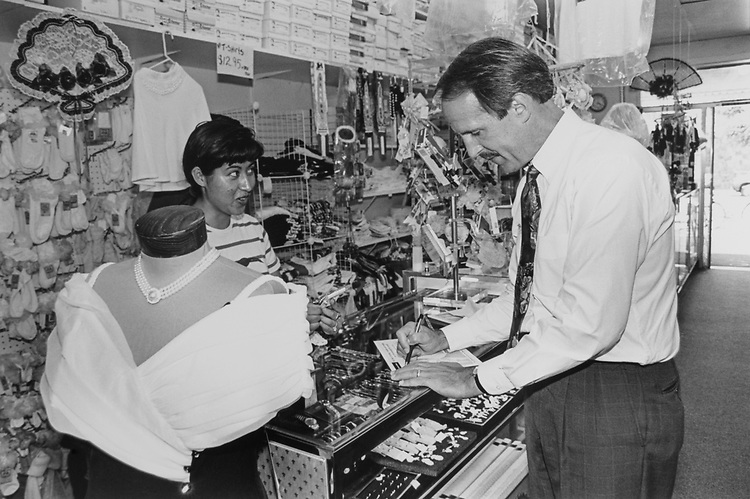 Rep. Frank Riggs, R-Calif., meeting with shop owners in Fairfield, California. 1996 (Photo by Chris Ayers/CQ Roll Call)