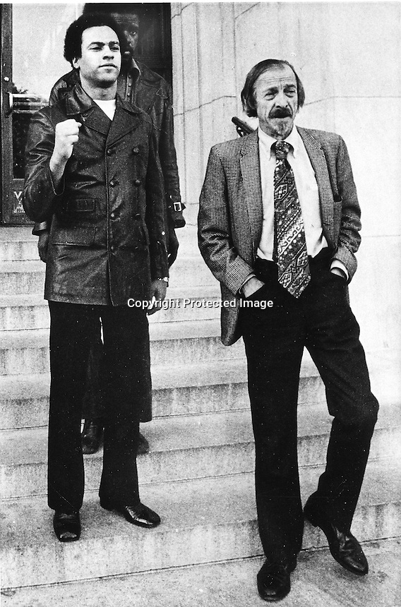 Black Panther Huey Newton leaving the Alameda County court house with his attorney Charles Garry.<br />
