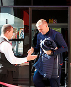 30th September 2017, Riverside Stadium, Middlesbrough, England; EFL Championship football, Middlesbrough versus Brentford; Dean Smith Manager of Brentford arriving at the ground shakes the hand of the team coach driver