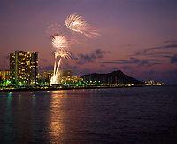 Fireworks Celebrations at Night, Waikiki, Oahu, Hawaii, USA.