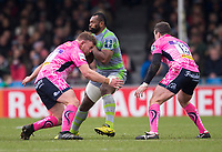 Newcastle Falcons' Vereniki Goneva in action during todays match<br /> <br /> Photographer Bob Bradford/CameraSport<br /> <br /> Anglo Welsh Cup Semi Final - Exeter Chiefs v Newcastle Falcons - Sunday 11th March 2018 - Sandy Park - Exeter<br /> <br /> World Copyright &copy; 2018 CameraSport. All rights reserved. 43 Linden Ave. Countesthorpe. Leicester. England. LE8 5PG - Tel: +44 (0) 116 277 4147 - admin@camerasport.com - www.camerasport.com