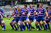 The Horowhenua Kapiti team perfroms a haka before the 2018 Heartland Championship Lochore Cup rugby final between Horowhenua Kapiti and Wairarapa Bush at Levin Domain in Levin, New Zealand on Sunday, 28 October 2018. Photo: Dave Lintott / lintottphoto.co.nz