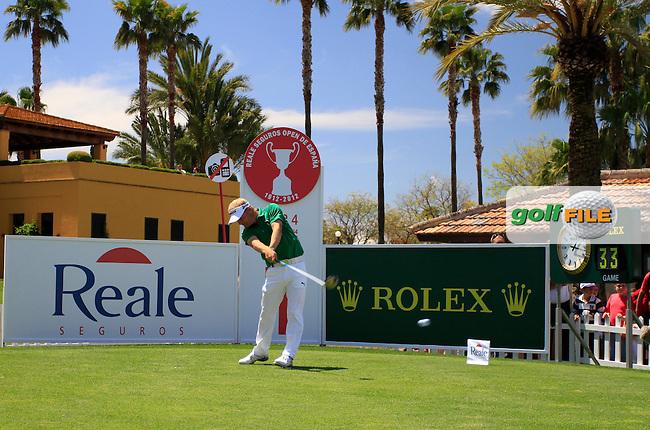 Soren Kjeldsen (DEN) tees off on the 1st tee to start his match during Sunday's Final Round of the Open de Espana at Real Club de Golf de Sevilla, Seville, Spain, 6th May 2012 (Photo Eoin Clarke/www.golffile.ie)