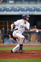 Charlotte Stone Crabs right fielder Ryan Boldt (20) hits a single during the first game of a doubleheader against the Tampa Yankees on July 18, 2017 at Charlotte Sports Park in Port Charlotte, Florida.  Charlotte defeated Tampa 7-0 in a game that was originally started on June 29th but called to inclement weather.  (Mike Janes/Four Seam Images)