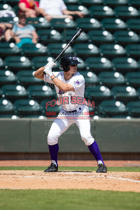 Adam Engel (7) of the Winston-Salem Dash at bat against the Carolina Mudcats at BB&T Ballpark on April 22, 2015 in Winston-Salem, North Carolina.  The Dash defeated the Mudcats 4-2..  (Brian Westerholt/Four Seam Images)
