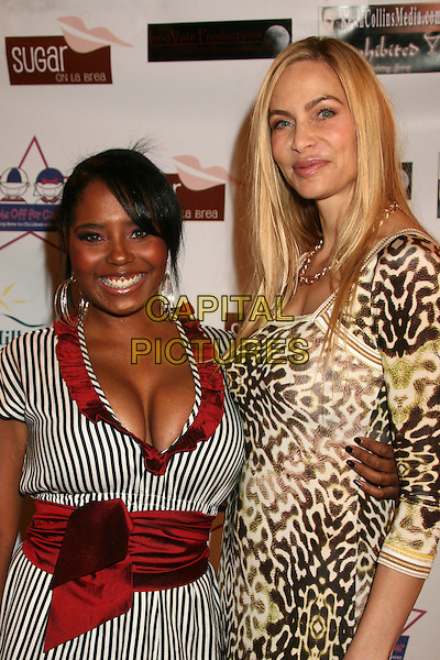 "SHAR JACKSON & CHRISTINA FULTON .""Hats Off For Cancer"" Benefit Party at Sugar Boutique, Hollywood, California, USA..May 9th, 2007.half length black white leopard print dress red belt sash ruffles trim brown.CAP/ADM/BP.©Byron Purvis/AdMedia/Capital Pictures"